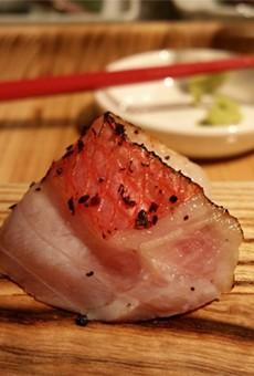 Otsukuri: Kinmedai (goldeneye snapper), burnt shallot vinaigrette