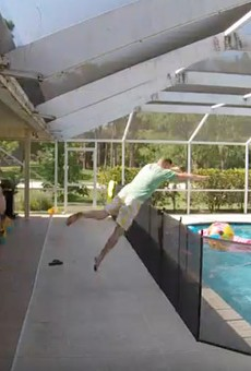 Florida dad 'Supermans' over 4-foot pool fence to save drowning son