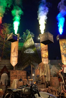 The opening celebration of Hagrid's Magical Creatures Motorbike Adventure in the Wizarding World of Harry Potter at Universal Studios Orlando
