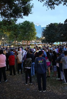 People gathered on March 16, 2019, for a vigil at Lake Eola Park to remember the 50 Muslim lives taken at two Christchurch mosques in New Zealand