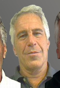 Mugshots of Jeffrey Epstein in 2006, 2011, and 2013, from left to right