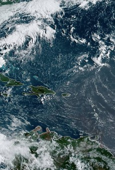 Dorian, seen here in the lower-right corner, is roughly 515 miles east-southeast of Barbados