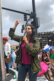 State Rep. Anna Eskamani, Florida's only elected Iranian-American, addresses the climate strike at Orlando City Hall on Sept. 20, 2019.