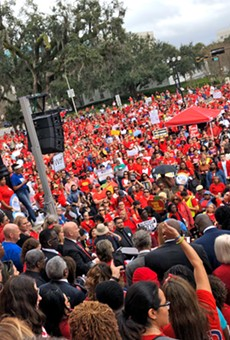 As Florida public school teachers rally at the state capitol today, some fear punishment
