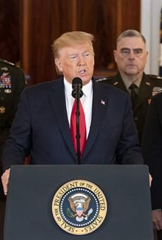 President Donald Trump, Vice President Mike Pence and senior advisors on Jan. 8, 2020