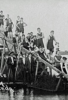 Picture of a water slide at Ivanhoe Park, aka Joyland, circa 1910