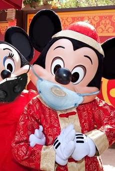 An altered image of Disneyland's Lunar New Year Mickey and Minnie going viral on social media.