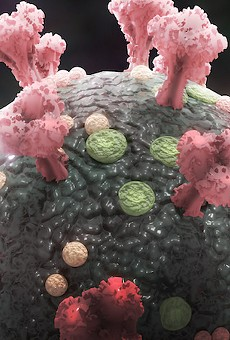 Medical 3-D rendering of microscopic view of coronavirus
