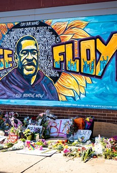 Minneapolis Black Lives Matter graffiti mural memorializing George Floyd