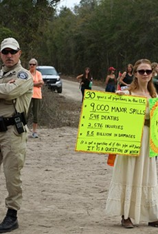 Protesters arrested after climbing inside Sabal Trail pipeline