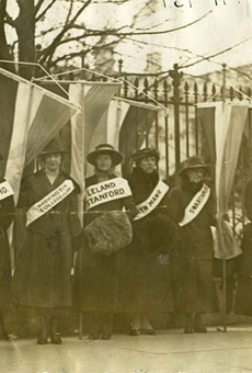 Detail from 'College Women Picketing in Front of the White House, 1917'