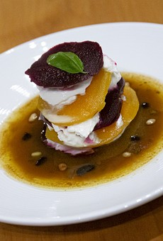 Beet and burrata Napoleon