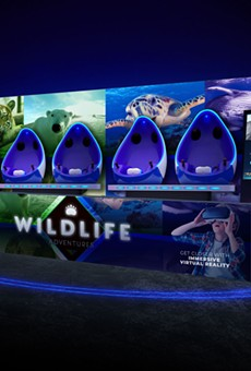 A four person VR pod typical of the type used in many aquariums and zoos