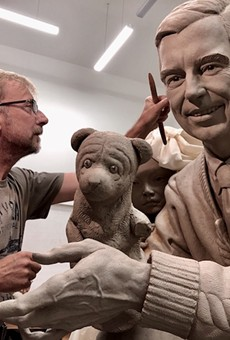 Paul Day at work on his Mr. Rogers statue