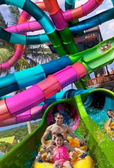 The new Riptide Race waterslide will open at Aquatica on April 3.