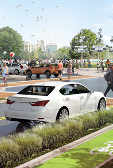 Some proposals for Future Orlando include bicycles with their own green pathways on which to ride, divided from both traffic and pedestrians.