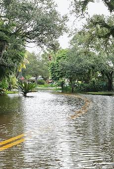 Flooded neighborhood street during Tropical Storm Eta, 2020