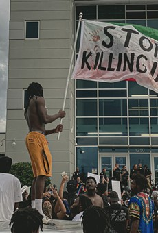 Protesters gathered outside the Orlando Police Department last summer.