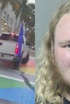 A Donald Trump supporter used his truck to deface a Florida crosswalk painted to celebrate Pride Month.