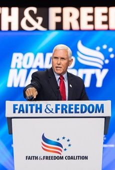 Mike Pence was heckled during a recent speech in Central Florida. We say it's a good start.