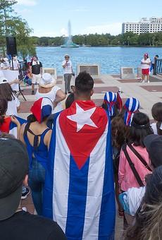 SOS Cuba protesters at Lake Eola Park on Saturday, July 18