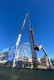 Sling Shot and Drop Tower during construction.