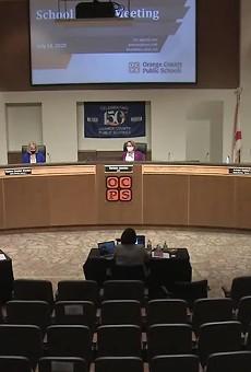 An Orange County School Board meeting.