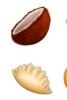 Six of the food (?) emojis to be released this summer. The rest found below.