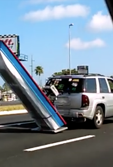 Florida man tows his boat