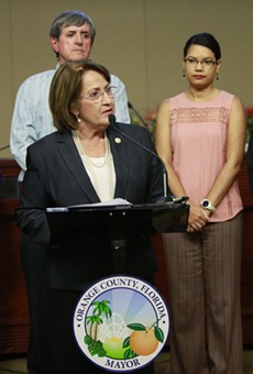 Mayor Teresa Jacobs at a press conference Wednesday on emergency preparations