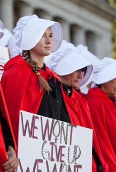 A scene from the 50 Handmaids in 50 States protest in Olympia, Washington