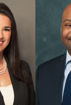 Senate President Pro Tempore Anitere Flores, R-Miami, left and Senate Minority Leader Oscar Braynon, D-Miami Gardens, right.