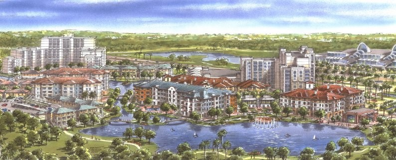Image of the former Village of Imagine Resort on the property now repurchased by Universal Orlando. The Las Palmeras by Hilton Grand Vacations tower, the only resort built as part of the Imagine complex, can be seen in the middle right of the image. The OCCC can be seen in the top right. - IMAGE VIA HOTEL-ONLINE.COM