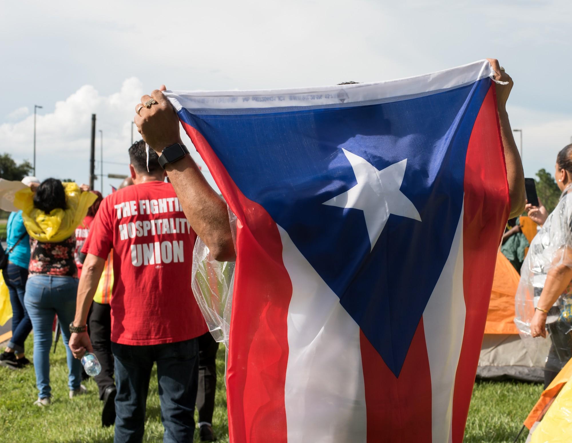 Puerto Rican evacuees set up 'tent city' to demand Rick