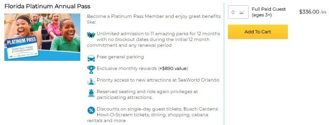 This section of the SeaWorld Orlando only mentions free general parking for Florida Platinum Annual Passes while other sections of the site list the upgraded Preferred Parking is included.