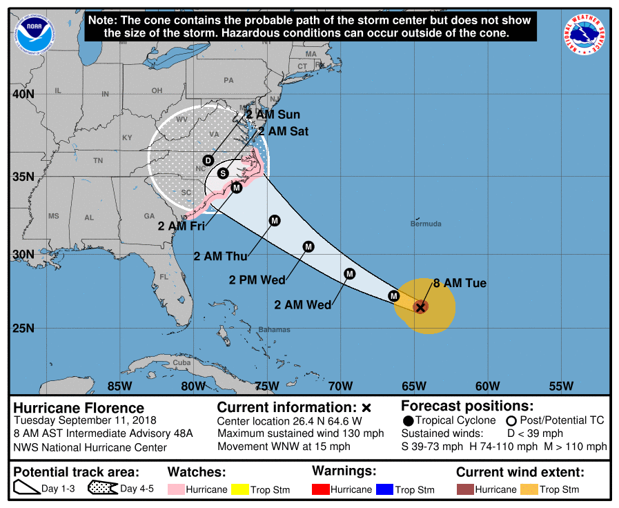 Hurricane Florence: US southeast braces for direct hit from 'monster' storm