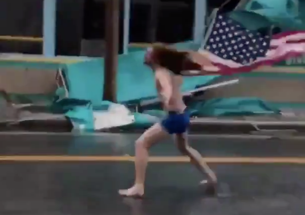Headbanging, Flag-Waving Dude Returns For Hurricane Florence
