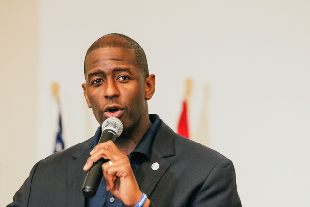 Andrew Gillum at Al Lopez Park in Tampa, Florida on October 27, 2018. - PHOTO BY MARLO MILLER