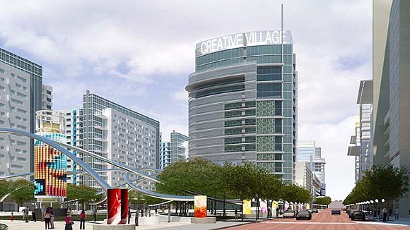 A rendering of the proposed Creative Village featuring the UCF downtown campus.