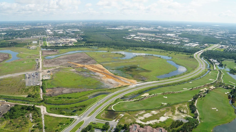 Universal has built a new access road to its expansion properties a few miles southeast of its current theme parks in Central Florida. - PHOTO BY BIORECONSTRUCT VIA TWITTER