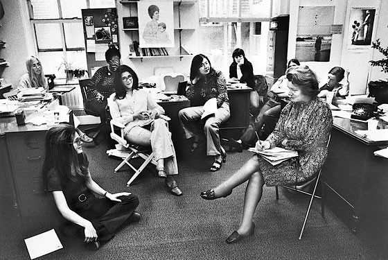 From left: Letty Cottin Pogrebin, Gloria Steinem, Margaret Sloan-Hunter, Suzanne Levine, Mary Thom, Harriet Lyons, Patricia Carbine, and Ruth Sullivan - PHOTO VIA NEW YORK MAGAZINE