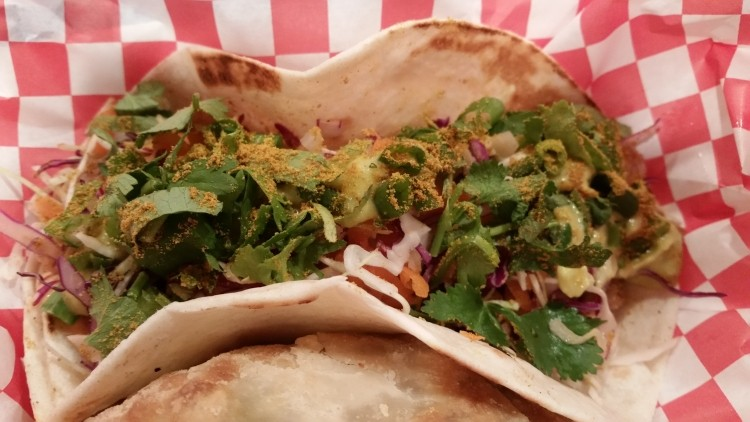 Indian yellow curry dusted tofu taco