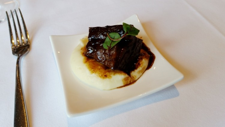 Syrah wine braised beef short rib, Yukon Gold mashed potato (Lebas)