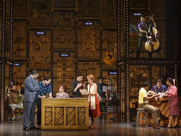 Curt Bouril (Don Kirshner), Liam Tobin (Gerry Goffin), Abby Mueller (Carole King), Ben Fankhauser (Barry Mann) and Becky Gulsvig (Cynthia Weil) in Beautiful: The Carole King Musical - PRODUCTION PHOTO BY JOAN MARCUS VIA BROADWAY.COM