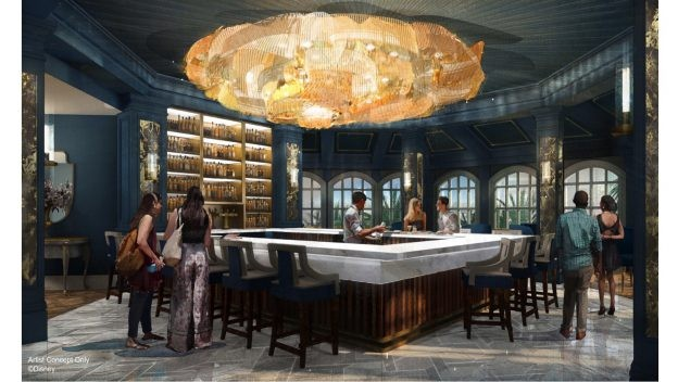 The main room in the yet to be named Beauty and the Beast inspired lounge. The chandelier is meant to evoke Belle's dress. - IMAGE VIA DISNEY PARKS BLOG