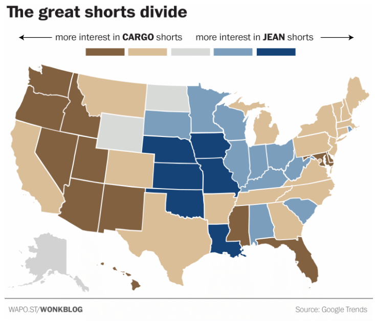 According to this map, Florida is flooded with cargo shorts ... on