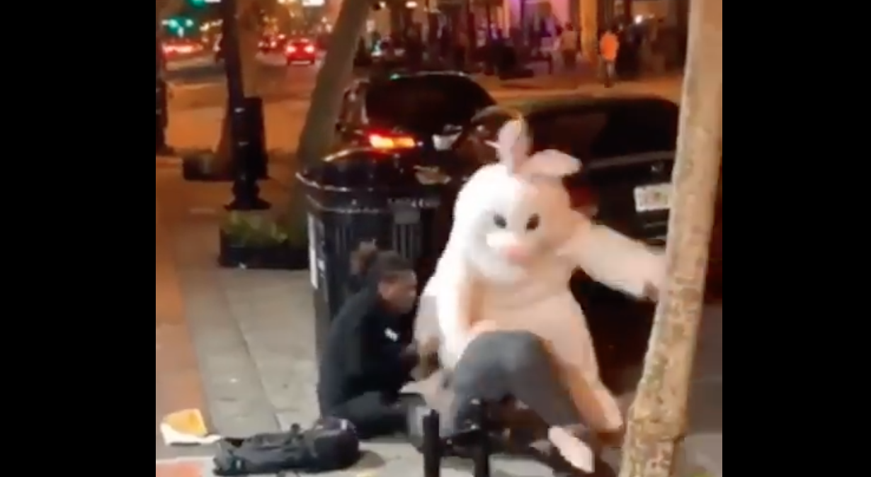 Person dressed as Easter bunny hops into fight in Downtown Orlando