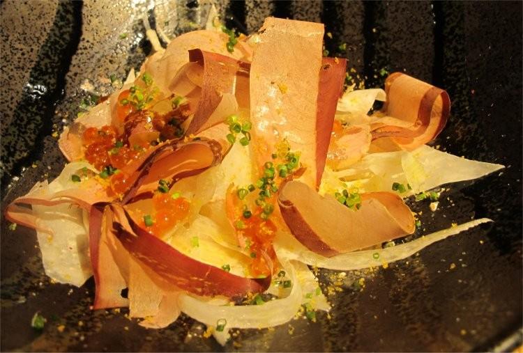 Daikon salad, mentaiko, ikura, fresh shaved katsuo-bushi