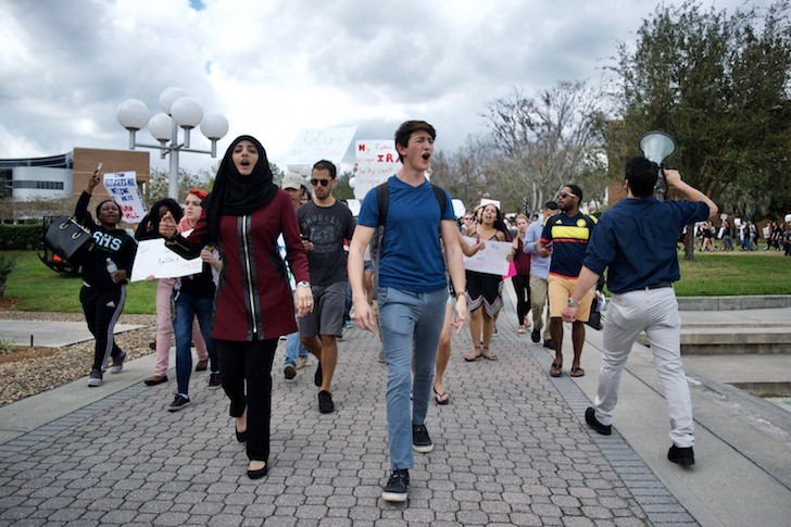UCF students protest immigration ban, petition to make