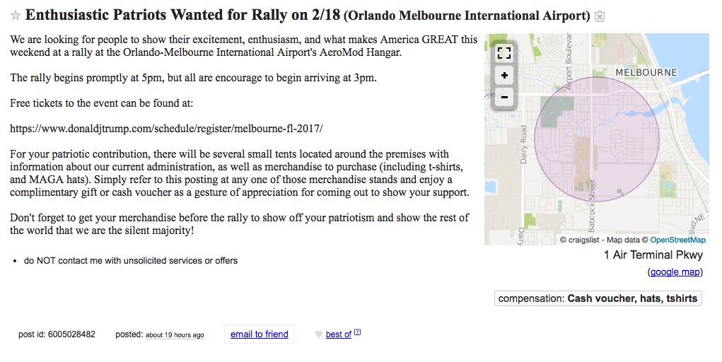 Screen cap of Orlando Craigslist ad for Snowflake In Chief's Melbourne FL rally, taken on 2-17-2017